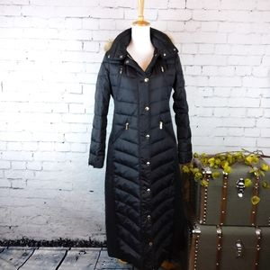 Michael Kors Quilted Down Blend Long Coat Black S
